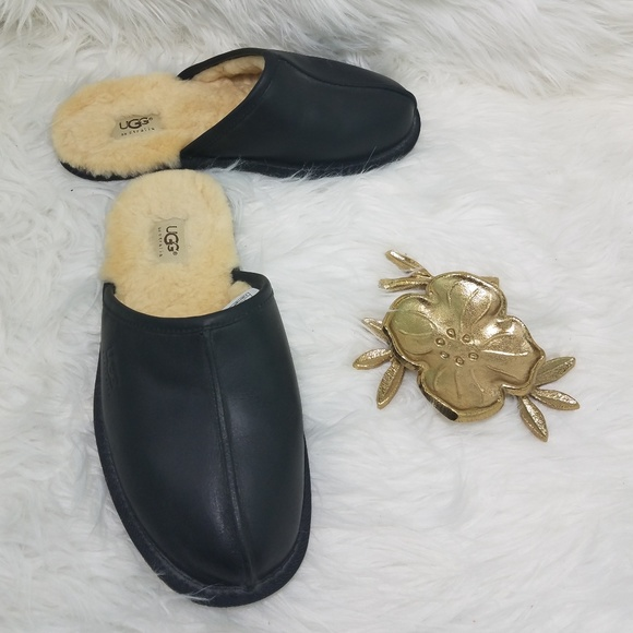 16a93451091 UGG Black Leather Scuff Slippers - Size 8